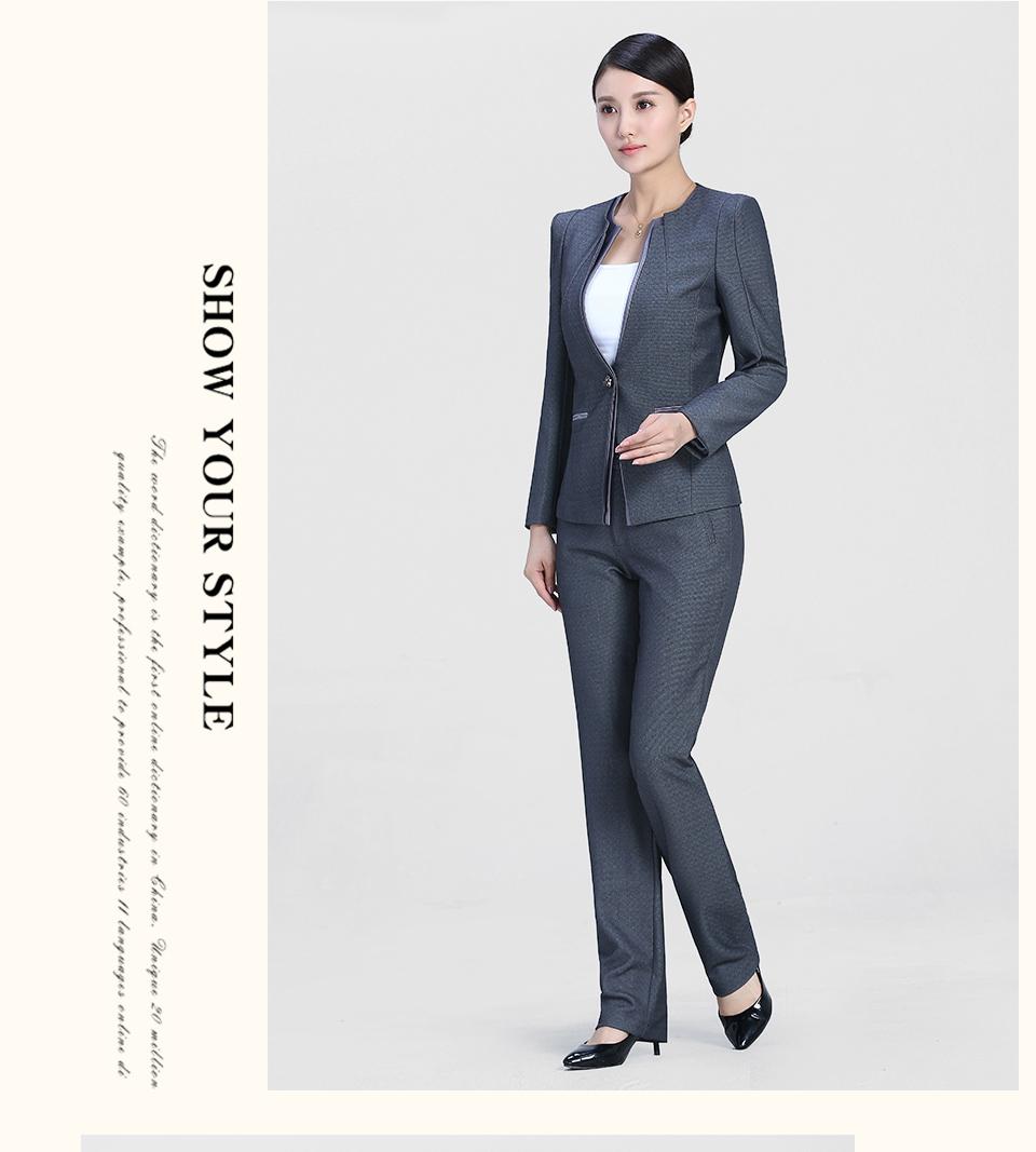 新款中灰色时尚一粒扣职业装